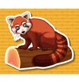Sticker of brown raccoon on log vector image vector image