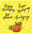 thanksgiving and inscription symbols vector image vector image