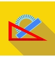 Triangular ruler and protractor icon flat style vector image vector image