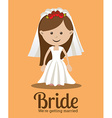 Wedding design over orange background vector image