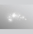 white glowing light effect isolated on transparent vector image vector image