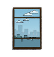 window with view building urban skyline vector image vector image