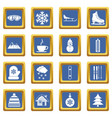 winter icons set blue vector image vector image