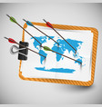 world map with arrows vector image vector image