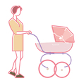 young mother walking with baby vector image