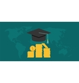 scholarship college with cap and money coin vector image