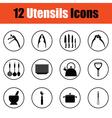 Utensils icon set vector image