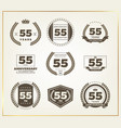 55 years anniversary logo set vector image