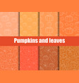 autumn set of seamless pattern with pumpkins vector image