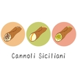 Beautiful cartoon hand drawn set of cannoli vector image