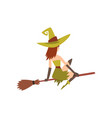 Beautiful witch flying on broom charming witch