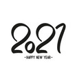 black number 2021 hand drawn lettering vector image vector image