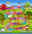 board game with farm background vector image vector image