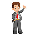 businessman cartoon presenting vector image vector image