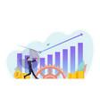 businessman use baseball bat hit business chart