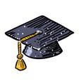 cartoon image of graduation cap icon education vector image