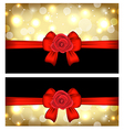 Christmas glossy cards with gift bows and roses vector image vector image