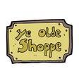 comic cartoon old fake shop sign vector image vector image
