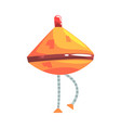 cute cartoon orange robot cone with legs character vector image vector image