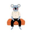 cute coala bear tourist sitting on suitcase funny vector image