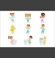 cute little boys and girls brushing teeth vector image vector image