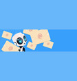 cute robot with email letters chat bot over vector image vector image