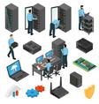 datacenter equipment isometric set vector image vector image