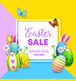 easter sale poster with eggs bunny flowers vector image vector image