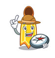 explorer swim fin mascot cartoon vector image