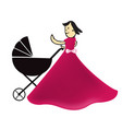 father with stroller icon vector image