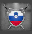 flag of slovenia the shield with national flag vector image vector image