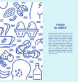 food allergy banner template in line style vector image vector image