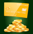 golden bank credit card stack coins vector image vector image