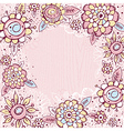 hand draw flowers on pink background vector image vector image