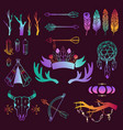 hand drawn boho design elements set wild vector image