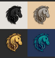 horse head logo design with different color vector image vector image