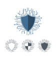 internet protection logo template microchip lines vector image