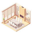 isometric dining room interior vector image