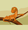 lizard on a branch cartoon vector image vector image