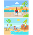 male and female freelancers sit and work at beach vector image vector image