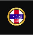 netherlands antilles flag golden button vector image