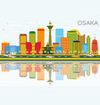 Osaka skyline with color buildings blue sky and vector image