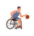 paralympic athlete playing basketball sitting vector image vector image