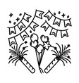 party decoration icon doodle hand drawn vector image