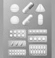 pills 3d set white tablet drug and pill vector image