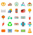 place icons set cartoon style vector image vector image