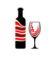 pour the wine into a glass time to wine bottle vector image