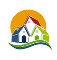 real estate houses and sun logo vector image vector image