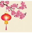 Red Chinese lanterns hanging on a branch of cherry vector image vector image