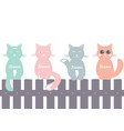 seamless pattern background with cats on fence vector image vector image
